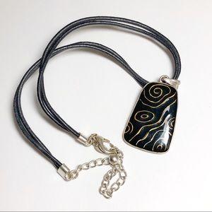 Chico's Necklace Enamel Pendant Black Leather Cord